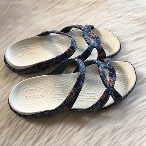 Crocs cute floral sandals slide 7 waterproof